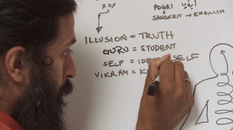 Kumaré makes notes about his teachings about illusion and truth.