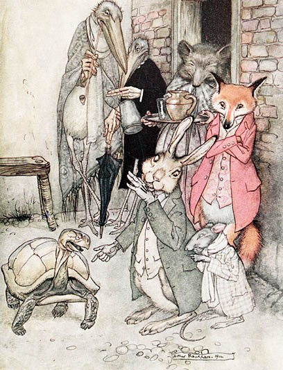 "Rabbits and Turtles do not need to speak and organize competitions to be able to gain a moral from the story.  Illustration: Arthur Rackham's ""The Hare and the Tortoise"""