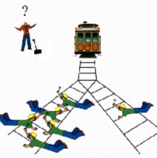 In the famous Trolley Problem thought experiment we are presented with two choices.  Let the trolley continue and kill 5, or pull the switch and to kill 1.  Where do your intuitions point?